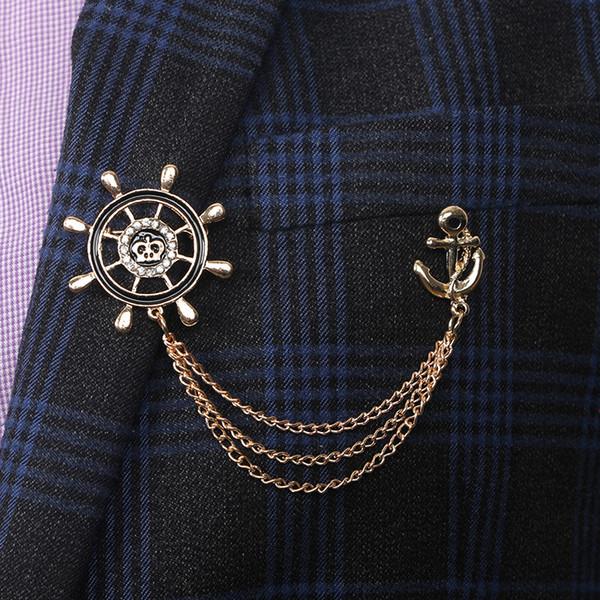 Moda Vintage Leme Cadeia Âncora Presente Da Jóia Lapela Pin Emblema Terno Collar Roupas Acessórios Broche Para Homens Leme