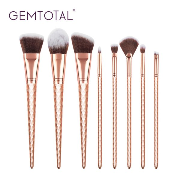 gemtotal makeup brushes set 8-pieces foundation concealer contour powder blush lip eyeshadow eyebrow synthetic hair(rosegold