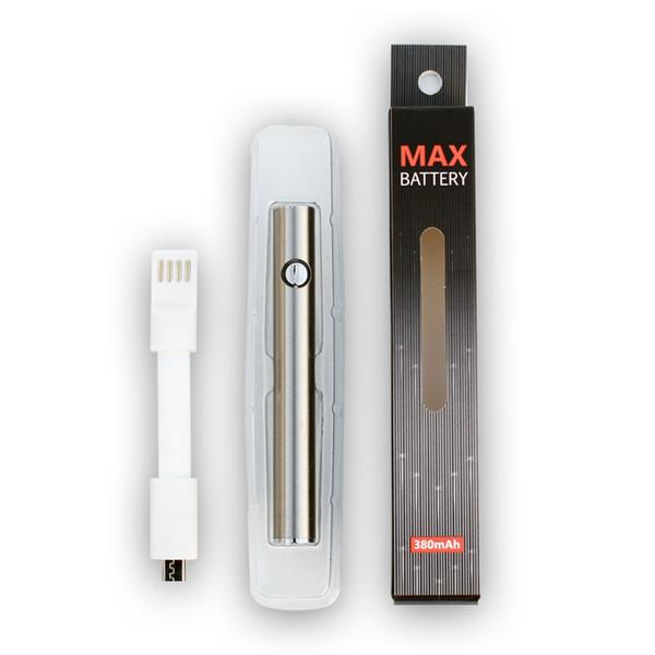 Max Pil 380 mAh Ön Isıtma Değişken Gerilim VV Alt 4 Pin USB Şarj Şarj 510 Ön Isıtma Vape Kalem Kalın Yağ Kartuş Tankı