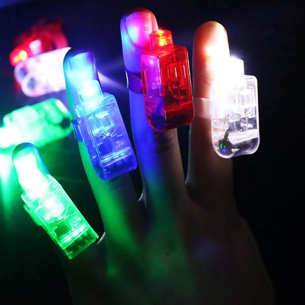 300 PCS per Lots Colorful LED Finger Light LED Emitting Lamps Finger Ring Torch Light Children Adults Gift Toys Glow Party Supplies