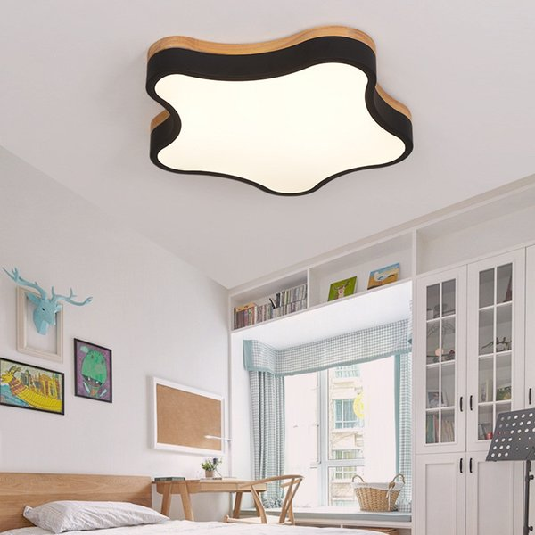 2019 Creative Nordic Macaron Ceiling Lamp Kindergarten Children\'S Room  Bedroom Star Shaped Oak Ultra Thin Ceiling Light From Ishopcauto, $99.5 |  ...