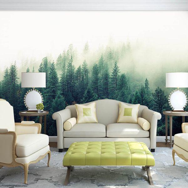 Acquista Bacaz Custom 3d Papel Murales Natura Nebbia Alberi Foresta Carta  Da Parati 3d Muro Foto Murale Foresta Carta Da Parati Camera Da Letto ...