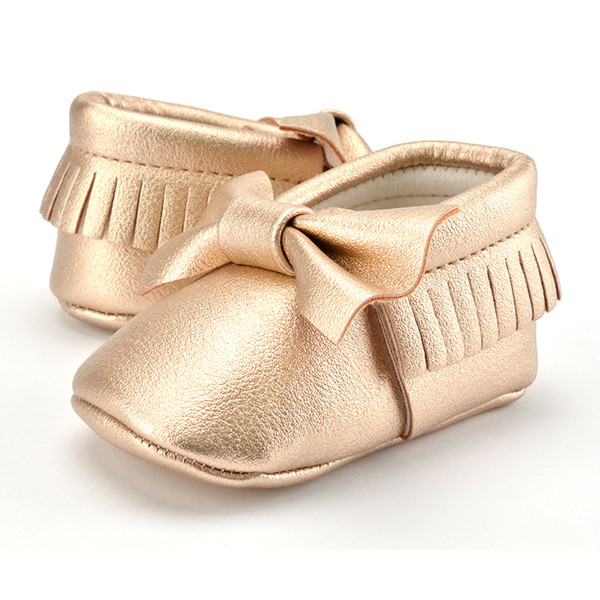 Wholesale Baby Girl Shoes PU Soft Sole First Walkers Infant Toddler Indoor Shoes Cute Bow Tassel Newborn Kids Crib Shoes 10 colors