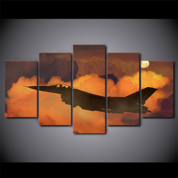 HD Printed 5 Piece Canvas Art Airplane in Clouds Canvas Painting Wall Pictures for Living Room Home Decor Free Shipping