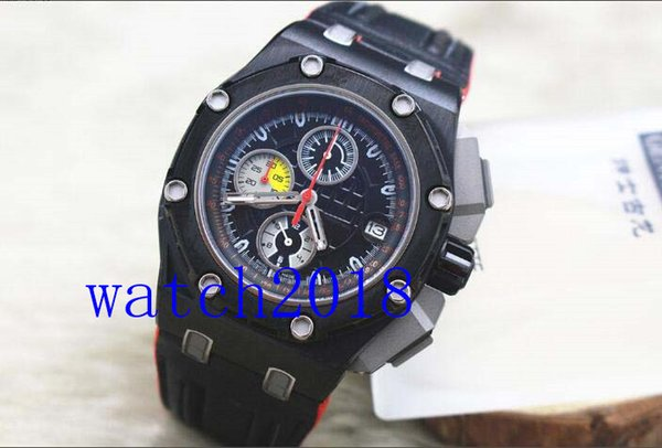 Luxury Watch Off shore Michael Schumacher Black Leather Bracelet Quartz MAN WATCH Wristwatch New Arrival