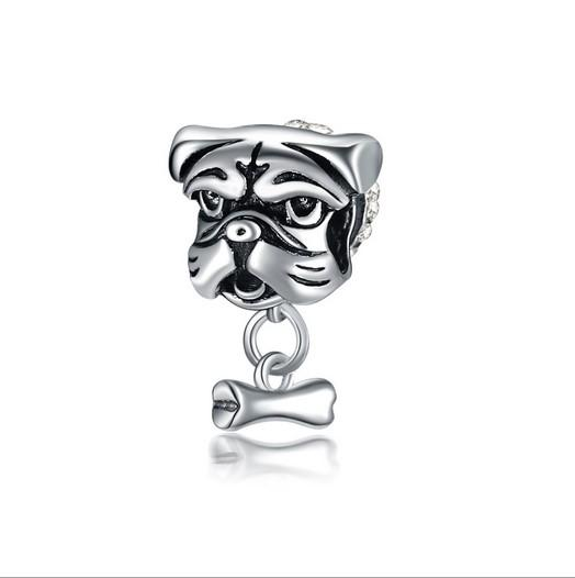 Fit Pandora Charm Bracelet Européen En Argent Charmes Perles Shar Pei Chien Os Dangle Perles DIY Chaîne De Serpent Pour Les Femmes Bracelet Bracelet Bijoux