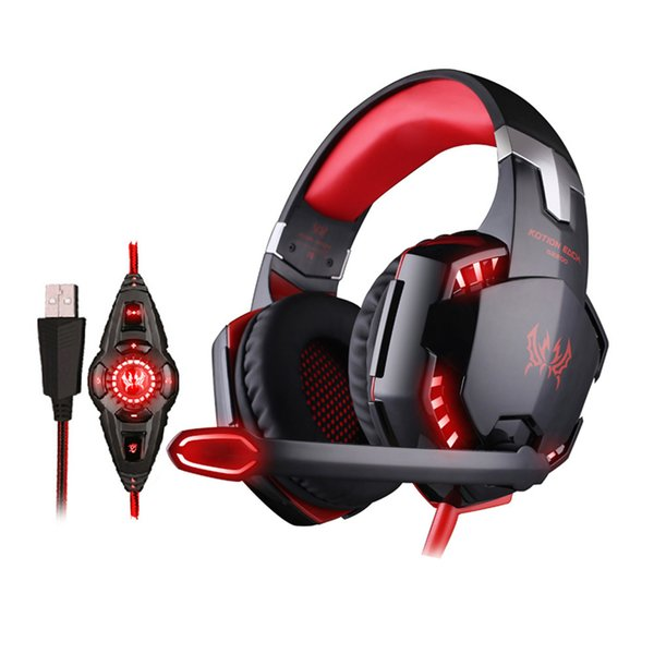 USB Gaming Headphone 7.1 Surround Sound Vibration Gamer Stereo Headset Wired Headband Earphone with Microphone LED Light for Computer