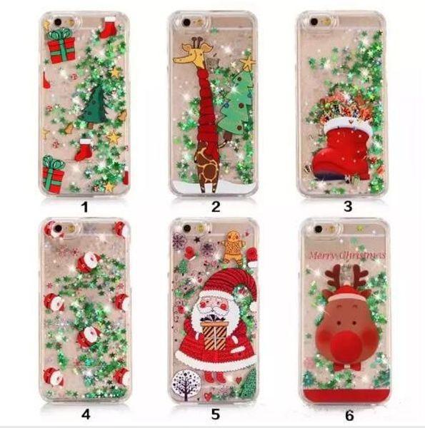 heißer Verkauf X Telefon Shell 8 Santa Christmas 7 Plus Schneemann S8 Sterne Flash-Pulver Sand Shell S7