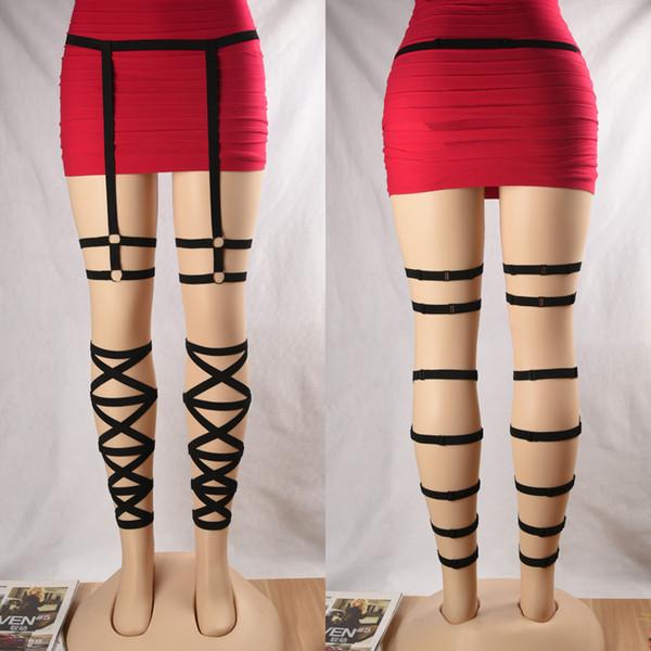 Fetish Wear Leg Harness Criss Cross Body Garters Leg Garters Thigh Harness Bondage Lingerie Sexy Harness Set P0162