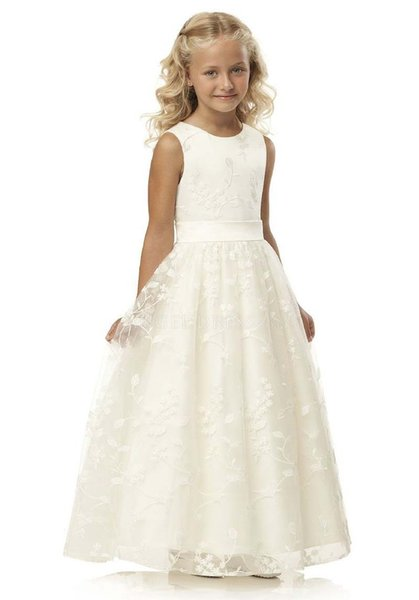 2018 Beautiful satin and new arrival Flower Girls Dresses Beaded Lace Appliqued Bows Pageant Gowns for Kids Wedding Party FD022