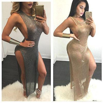 Womens Ladies Summer Beach Sundress Boho Evening Party Long Maxi Dress Perspective Thin Sexy