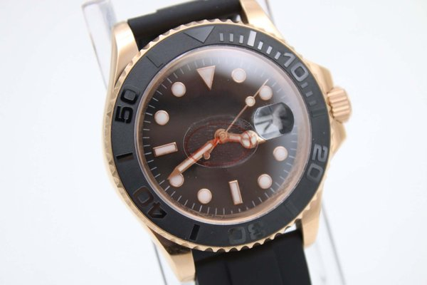 2107 Classic Old Style Luxury Brand Rol Automatic Movement Black Dial AAA Rubber Band Male Watch