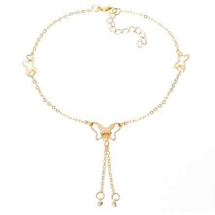 H:HYDE Butterfly Anklet Pendant Tassel Rhinestone Ankle Bracelet Beach Foot Chain For Women Girl Charms Barefoot Sandals Jewelry