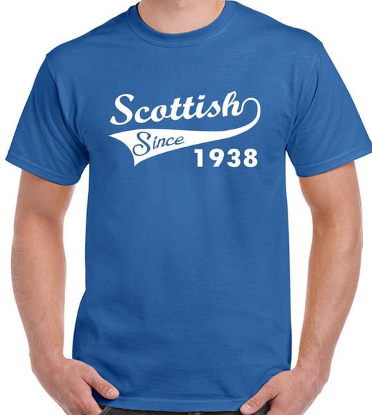 Escocês Desde 1938-Mens Engraçado 80th Aniversário T-Shirt-Rugby Futebol FlagFunny frete grátis Unisex Casual