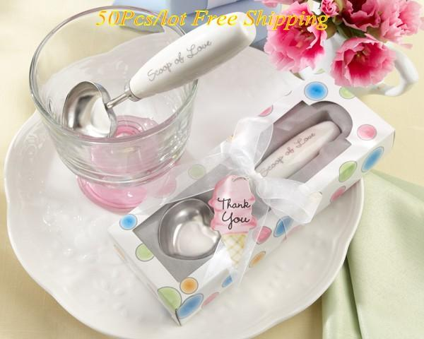 (50 Pieces/Lot) Wedding Gift Scoop Of Love Heart-shaped Ice Cream Scoop For Bridal shower favors and wedding souvenirs