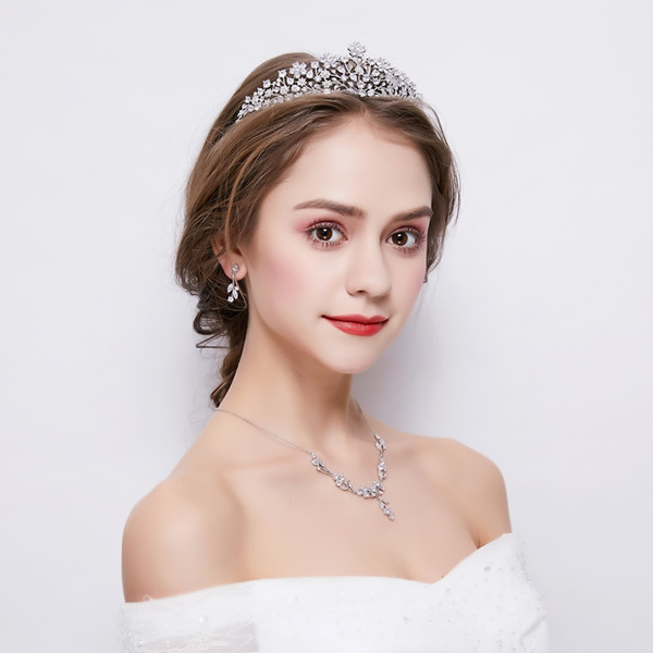 Round Cut Zircon Tiara Crown Fashion Cubic Zirconia Necklace Choker Drop Earrings Jewelry Sets Wedding Bridal Headwear Bijoux