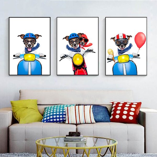 Wall Pictures Modern Color Balloon Dog Motorcycle Nordic Creativity Poster Printing Art Children Room Decoration Canvas Painting