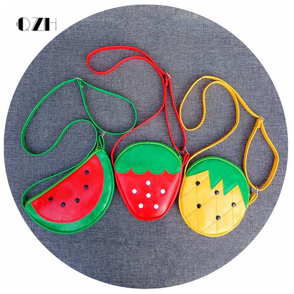 QZH Cartoon Kids Children Mini Bags Fruit Messenger Bags Coin Purse Pouch Handbags For Kindergarten Baby Girls Boys Shoulder Bag