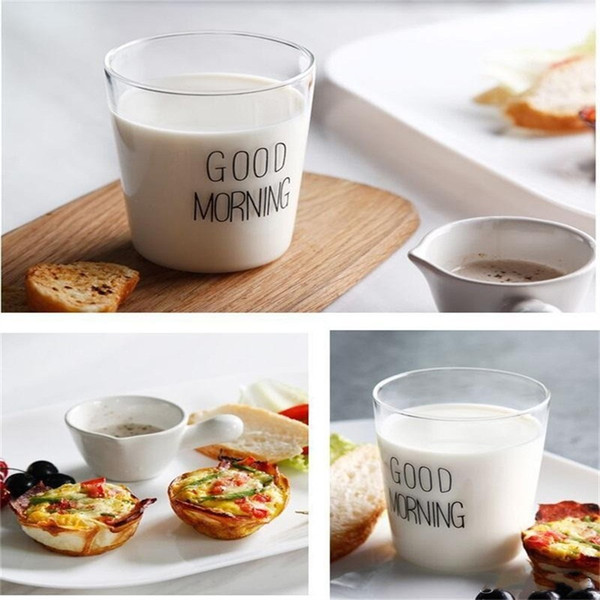 Großhandel Niedlichen Guten Morgen Glas Becher Moderne Prägnant Hitzebeständige Kaffee Becher Für Milch Fruchtsaft Smoothie Drink Tasse Einfach Tragen
