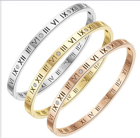 Pulsera de acero con titanio simple, europea y americana, con números romanos, oro, plata, oro rosa, brazalete hueco Hombres Mujeres