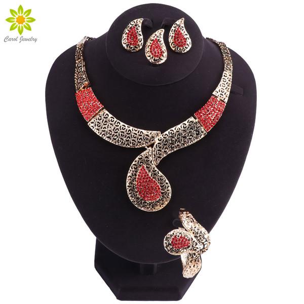 Sistemas nupciales de la joyería para el partido de las mujeres Cuentas africanas Conjunto de la joyería cristalina roja Conjunto clásico de la boda del traje