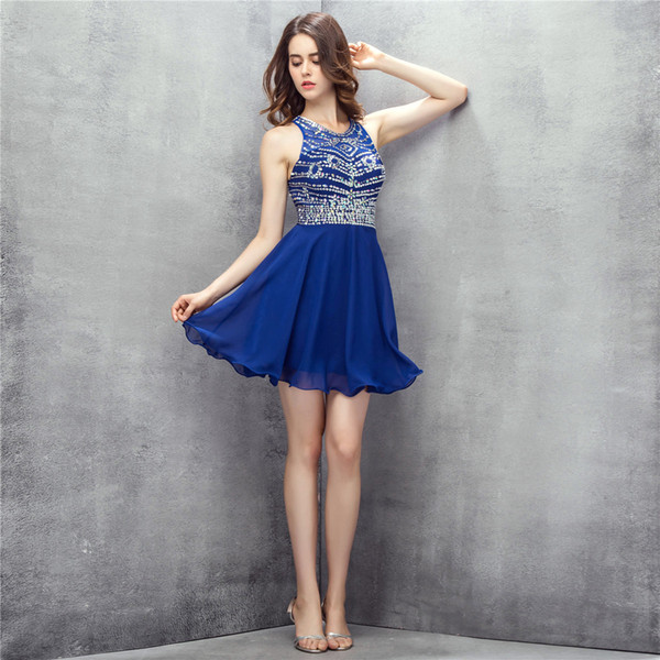 Sexy Royal Blue Short Mini Cocktail Dresses Open Back Handmade Beading Cocktail Prom Dresses Evenging Gowns DH308