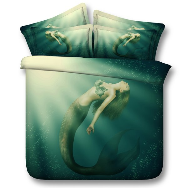 3D beautiful Green Mermaid Duvet Cover Bedding Set Bedspreads Holiday Quilt Covers Bed Linen Pillow Covers bedding sets twin California King