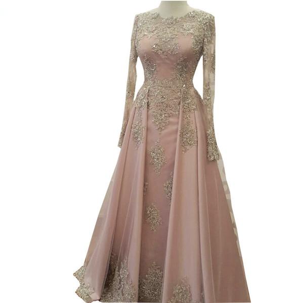 2019 Modest Manga larga Blush Pink Vestidos de baile Use apliques de encaje Crystal Abiye Dubai Vestidos de noche Caftan musulmán vestido de fiesta QC1119