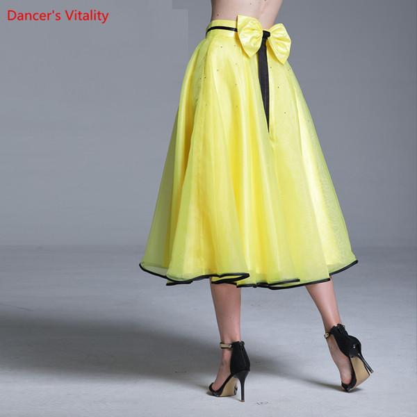 New Lady Modern Dance Rhinestone Splicing Skirt Competition Performance Suit Women Rumba Samba Tango Ballroom National Standard Jazz Dance