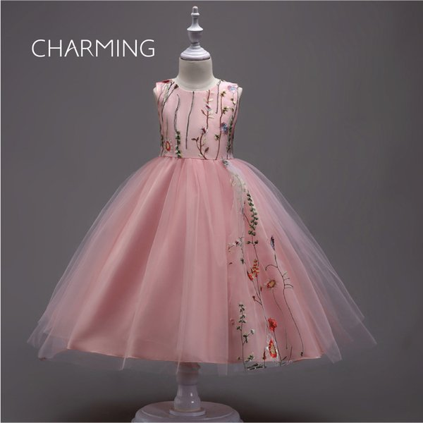 Girl solid color princess dress Embroidery Petal Mesh Dress Children's wedding dress Festival performance clothing Mini dresses fiesta
