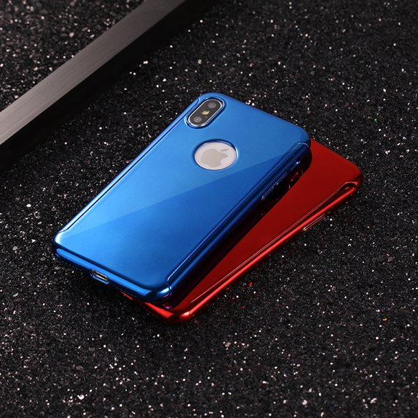 360 grad ganzkörper galvanik plating spiegel harte pc telefon case abdeckung für iphone xr xs max mit gehärtetem glas displayschutzfolie