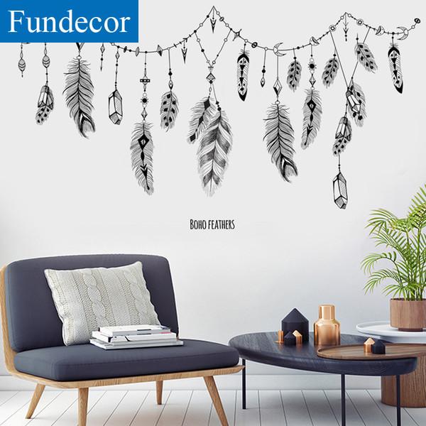 [Fundecor] New Arrivals Feather Suspendus Wall Sticker DIY Noir Salon Chambre Home Decor Stickers Muraux BRICOLAGE printemps décoration