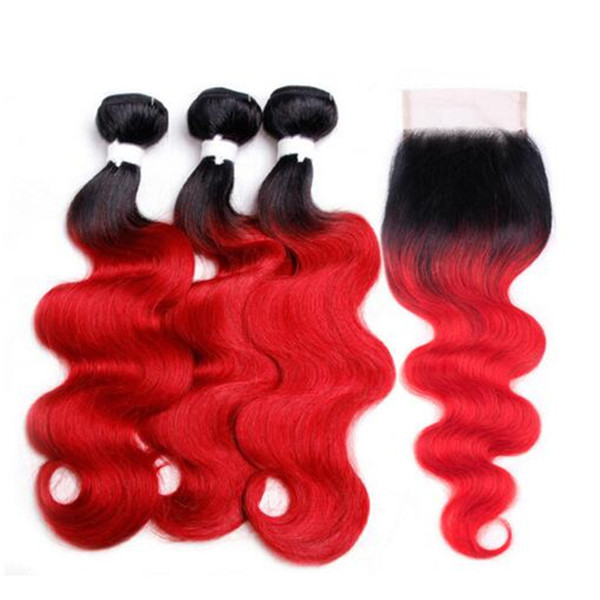Two Tone 1B Red Dark Root Ombre Body Wave Virgin Human Hair 3 Bundles With Free Parting 4x4 Lace Top Closure 4Pcs Lot