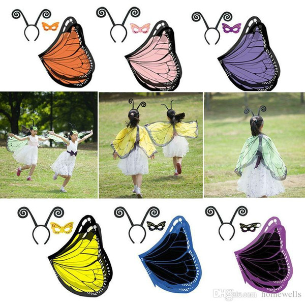 17 Design Butterfly cape with Masks and Headband 3pcs/set Ployester Wings Cape Mask Kids Halloween Birthday Party Cosplay Prop Costume