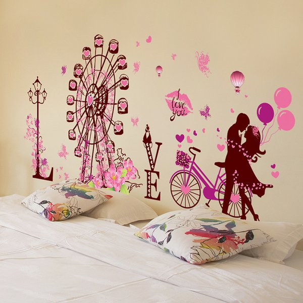 couple dating wall stickers ferris wheel street light wall art for living room decoration bedroom