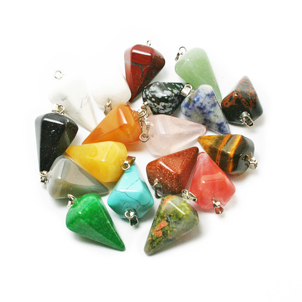 Wholesale 20pcs Mix Multi -Style Pendulum Shape Natural Stone Charms Pendants Necklace Jewelry Making For Women