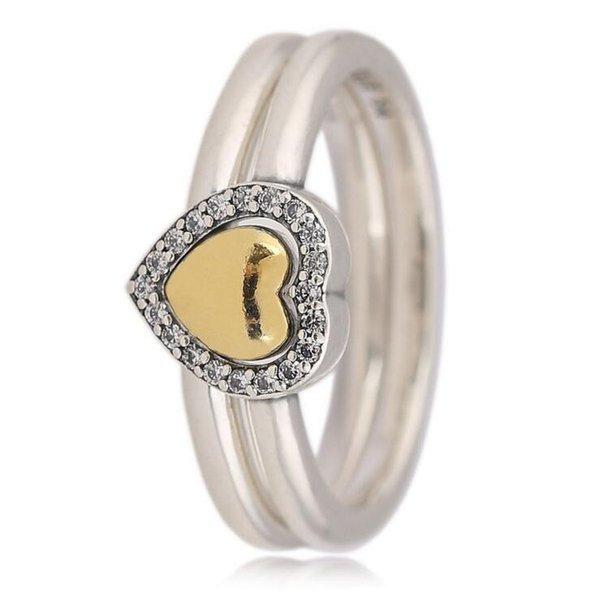 Delicate women jewelry 2018 valentine style girlfriend gifts gold color heart put in or out stack stackable 925 sterling silver finger rings