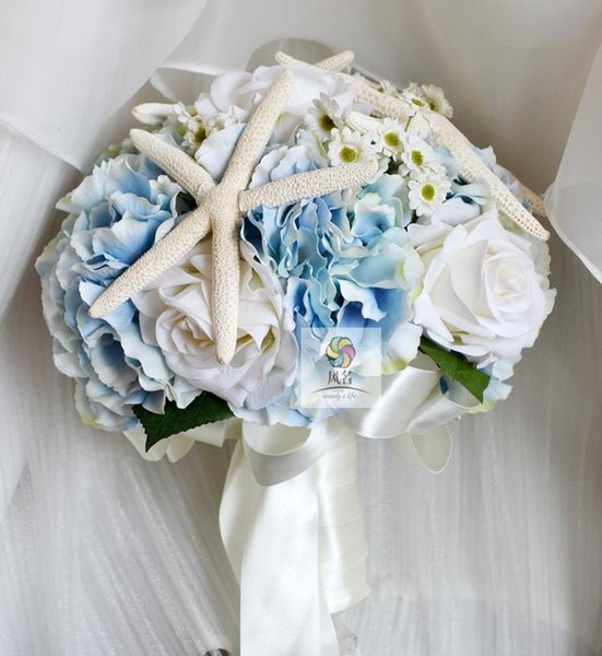 DIY New style Handmade custom sea wind retro white blue blossom hand holding flower wedding bride holding bouquet flower