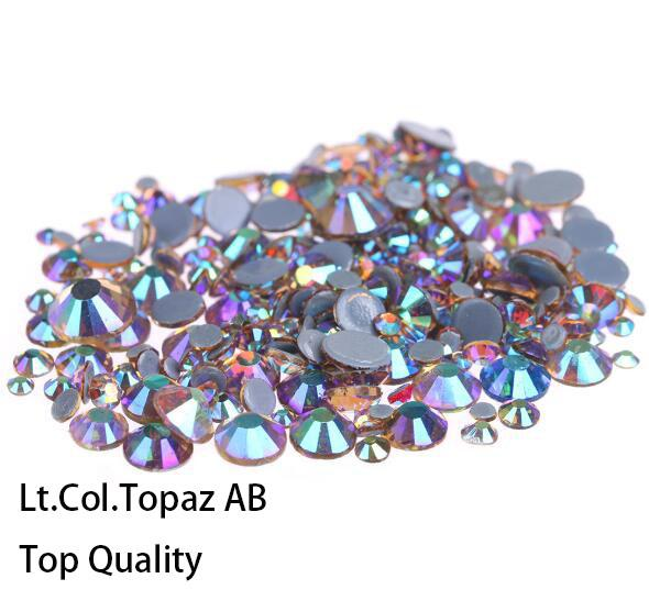 Hot Sale A++ Grade Quality Lt.Col.Topaz AB Glass Crystals Strass Stones Hotfix Rhinestones For clothing Garment Accessorie