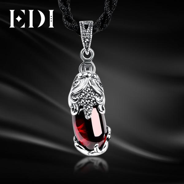 EDI Unique 100% 925 Sterling Silver Garnet Gemstone Locket Vintage Pendant Necklace Women Fine Jewelry