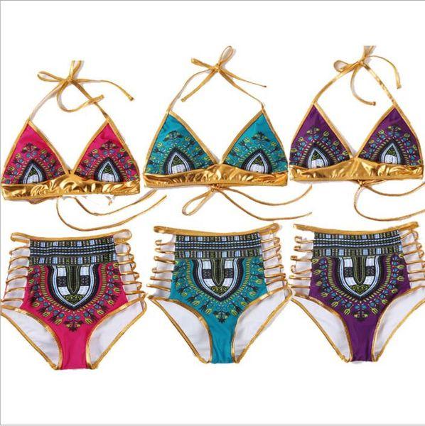 Traje de baño Mujeres Indio Bikini de impresión Vendaje Bronce Bikini Sets lencería sexy traje de baño tanga tanga Monokini Beachwear trajes de baño B4139