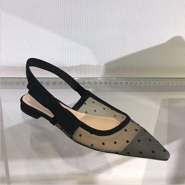 Primavera verano granadina lunares bowknot tacones altos mujer zapatos ventilación después de tiras banda elástica sandalias puntiagudas mujeres