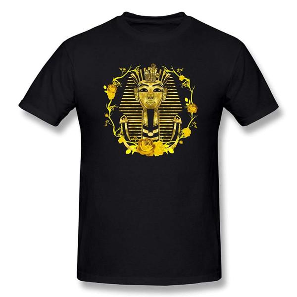 TWOOREIQ Or Roi Pharaon Toutankhamon Egypte Coton Court Chemises Hipster Manches O-Cou Drôle Vêtements D'impression Hip-Tope Mans T-Shirt Hommes