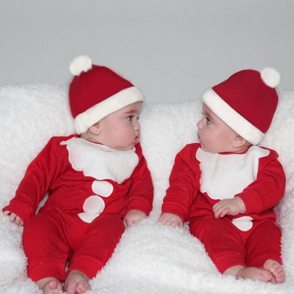 Baby Boy Menina Romper + Chapéus de Algodão 2 pcs Newborn Long Sleeve Romper New Years Macacão Natal Santa Traje Roupas de Bebê