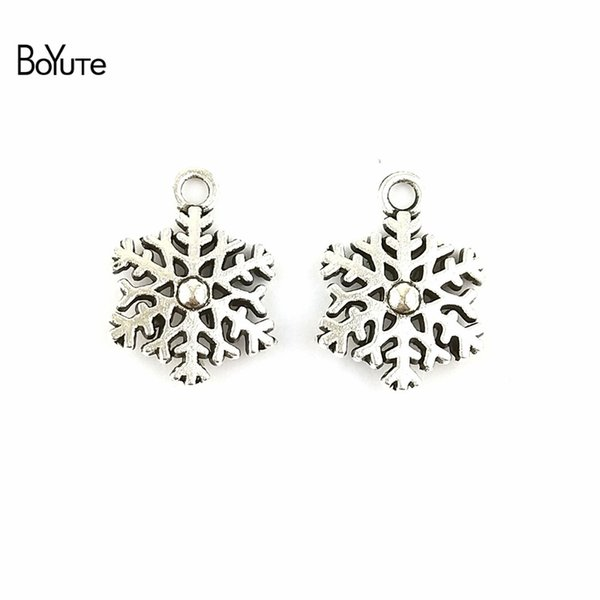 BoYuTe (100 Pieces/lot) 13*9MM Antique Bronze Silver Plated Zinc Alloy Double Snowflake Charms for Jewelry Making Diy Hand Made Accessories