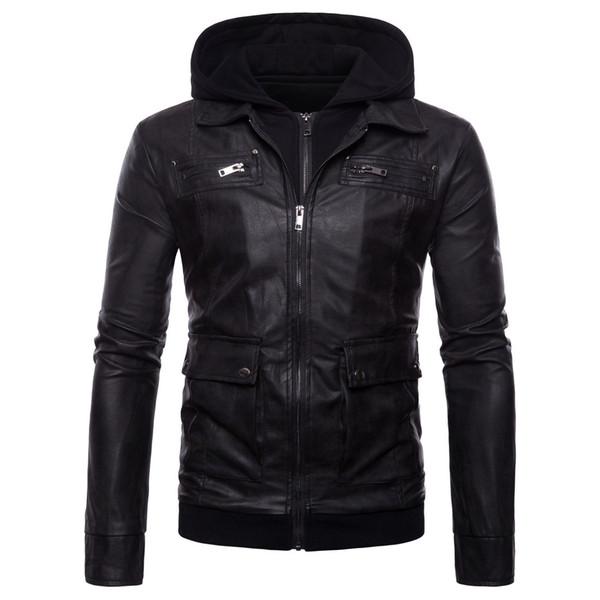 5XL мужчины кожаная куртка с капюшоном куртка зима теплая мотор Куртка для мужчин мульти карманные мода PU мужчины пальто поддельные два набора J180726