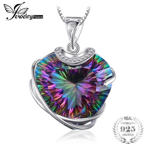 Huge 31.6ct High Quality Rainbow Fire Mystic Topaz Heart Necklace Pendant 925 Solid Sterling Silver Romantic Gift For Women S18101308