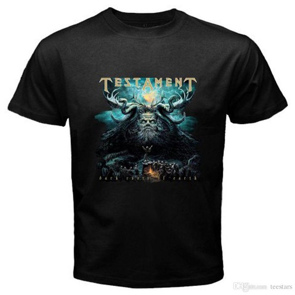2018 Short Sleeve Cotton T Shirts Man Clothing Testament Dark Roots Of The Earth Metal Rock Band Men's Black T-Shirt Sizes S To