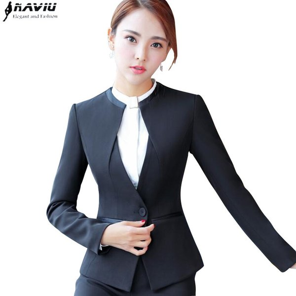 Fashion women blazer black gray winter elegant formal long sleeve slim V Neck jacket office ladies plus size work wear coat L18101303