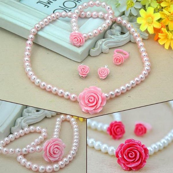 New Fashion Jewelry Imitation Pearls Necklace Bracelet Ring Ear Clip Set Kids Girls Child Rose Flower Shape Jewelry Gift